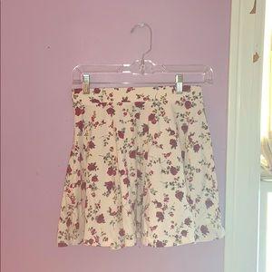 Rose Covered White Mini Skirt